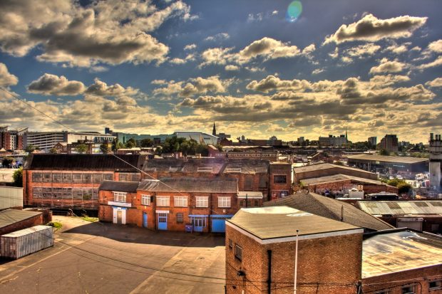 View of old industrial buildings in Leicester